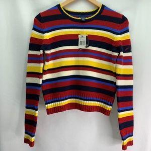 Nautica Striped Crop Sweater NWT Embroidered Logo